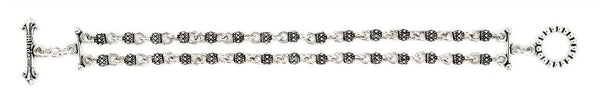 TWISTED BLADE 2 ROW SILVER STUDDED LINK BRACELET