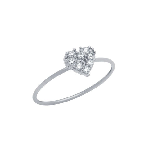 RHODIUM PLATED PAVE CLEAR CZ HEART STACKABLE RING