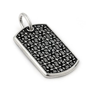 TWISTED BLADE DOGTAG PENDANT WITH ANTIQUE FLORAL PATTERN