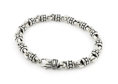 TWISTED BLADE SILVER 8MM LARGE STUDDED LINK BRACELET
