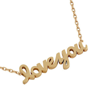 "ROSE GOLD PLATED HIGH POLISHED ""LOVE YOU"" NECKLACE 16"" + 2"""