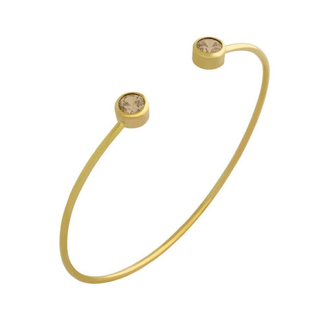 GOLD PLATED WIRE BANGLE WITH 5MM CHAMPAGNE CZ ROUNDS