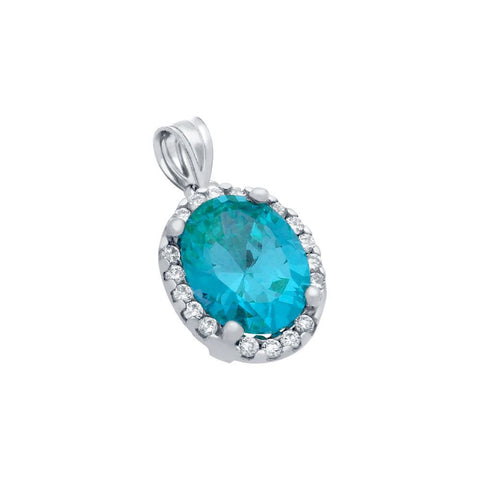 RHODIUM PLATED 8X10 LIGHT BLUE OVAL CZ PENDANT WITH ALL AROUND CLEAR CZ STONES