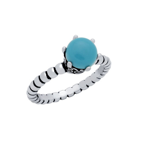 STERLING SILVER BEAD DESIGN RING WITH 5MM PRONG SET CABOCHON TURQUOISE