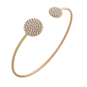 ROSE GOLD PLATED CZ DOUBLE ROUND DESIGN BANGLE