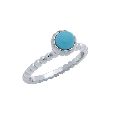 RHODIUM PLATED BEAD DESIGN RING WITH 5MM CABOCHON TURQUOISE
