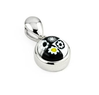 BLACK AND WHITE MURANO MILLEFIORI 8MM ROUND PENDANT