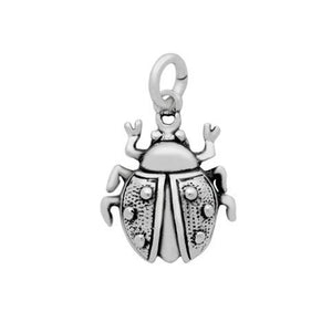 "PLAIN SILVER LADYBAG CHARM ""READY TO FLY"""