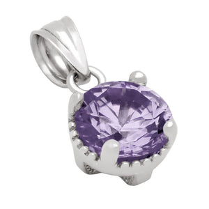 RHODIUM PLATED JUNE BIRTHSTONE ALEXANDRITE LIGHT PURPLE ROUND CZ PENDANT