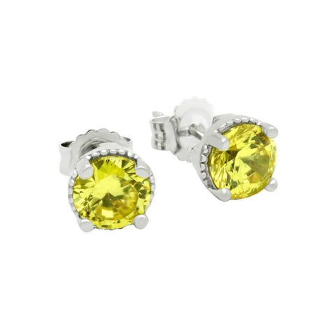 RHODIUM PLATED NOVEMBER BIRTHSTONE CITRINE YELLOW ROUND CZ STUD EARRINGS