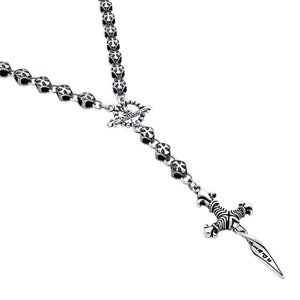 "TWISTED BLADE SILVER ROUND CROSS LINK ROSARY WITH SMALL DAGGER PENDANT 28""+4"""
