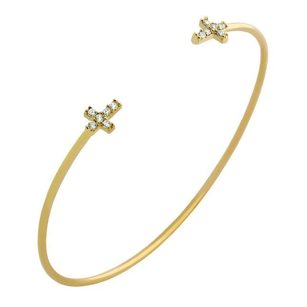 GOLD PLATED WIRE BANGLE WITH CZ CROSSES