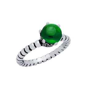 STERLING SILVER BEAD DESIGN RING WITH 5MM PRONG SET CABOCHON EMERALD