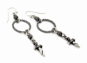 TWISTED BLADE SILVER DANGLING SMALL DAGGER EARRINGS