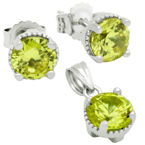RHODIUM PLATED AUGUST BIRTHSTONE PERIDOT LIGHT GREEN ROUND CZ SET PENDANT AND EARRINGS