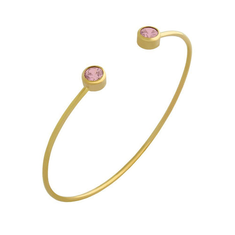 GOLD PLATED WIRE BANGLE WITH 5MM PINK CZ ROUNDS