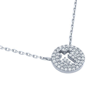 "RHODIUM PLATED CZ PAVE DISK NECKLACE WITH CUTOUT CROSS 16"" + 2"""