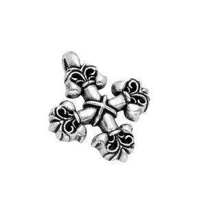 TWISTED BLADE SILVER 40MM FLEUR DE LIS SQUARE CROSS PENDANT