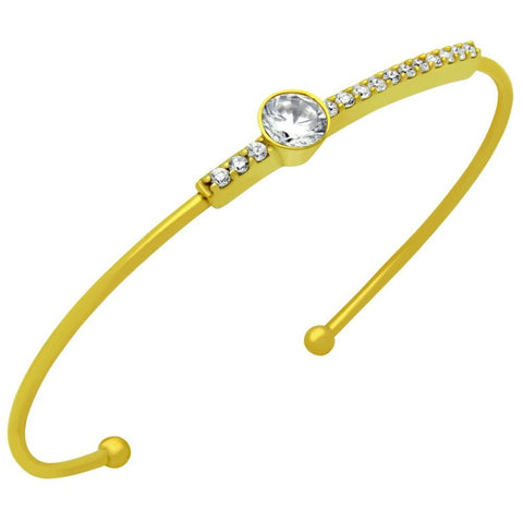 GOLD PLATED WIRE BANGLE WITH CZ PAVE BAR AND 5MM ROUND CZ