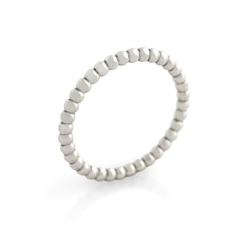 RHODIUM PLATED BEAD DESIGN STACKABLE BAND (SZ 4-8)