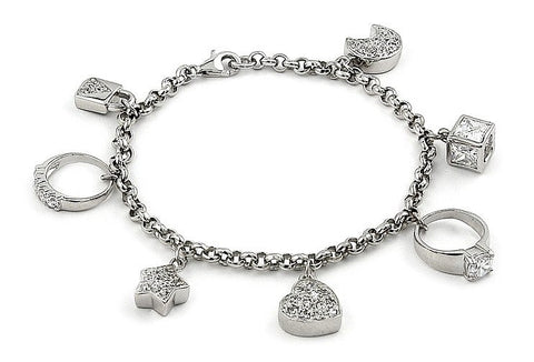 RHODIUM PLATED BRACELET WITH 7 DANGLING CZ CHARMS 7""
