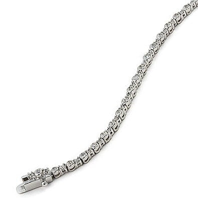 1.5MM CZ RHODIUM TENNIS BRACELET 7""
