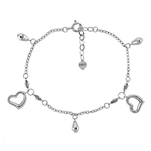 STERLING SILVER FLOATING HEART D/C BEAD DANGLE RHODIUM BRACELET