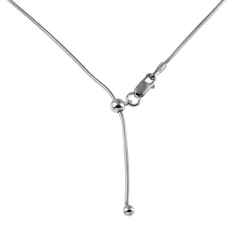 "ADJUSTABLE RHODIUM PLATED SNAKE CHAIN 020 (1.0MM) 14"" TO 24"""