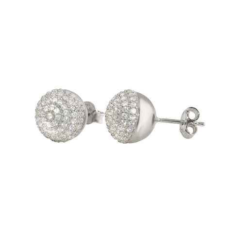 DISCOBALL PAVE WHITE CZ  0.11x1.98CM STUD EARRINGS