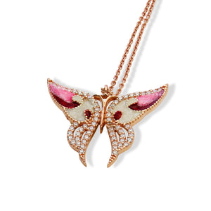 ENAMEL RED&WHITE ROSE GOLD SMALL BUTTERFLY W/WHITE CZ STONES REVERSIBLE NECKLACE 16+2""