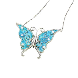 ENAMEL TURQUOISE BUTTERFLY W/WHITE CZ STONES REVERSIBLE NECKLACE 16+2""