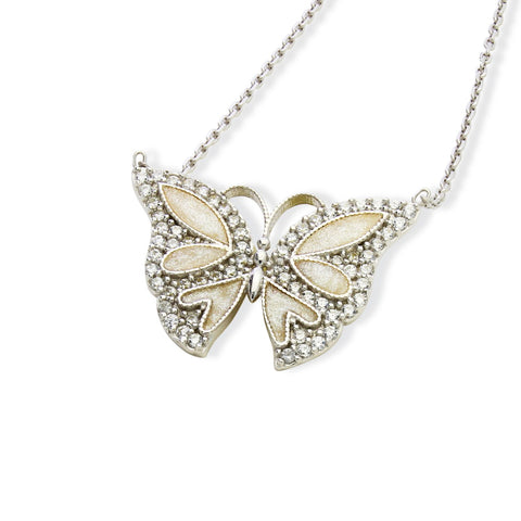 ENAMEL WHITE SMALL BUTTERFLY W/WHITE CZ STONES REVERSIBLE NECKLACE 16+2""