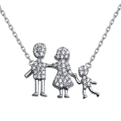 CZ Mom, Dad, Baby Boy Family Necklace