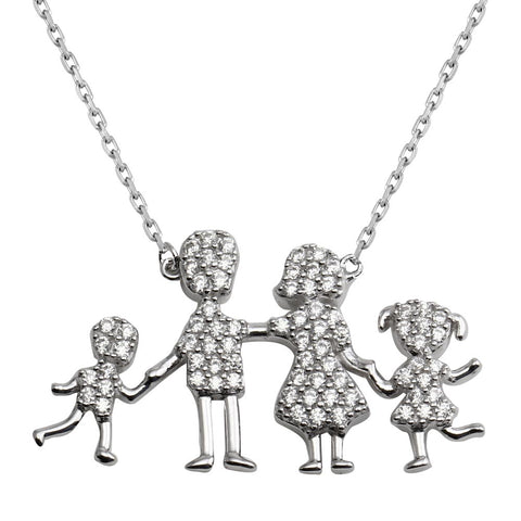 CZ Mom, Dad, Baby Boy And Girl Family Necklace