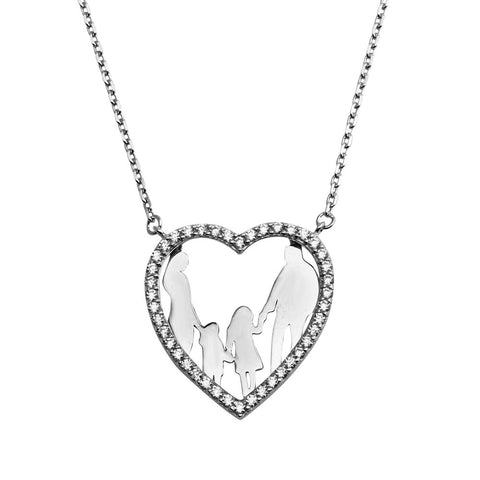 Open CZ Heart Mom, Dad, Baby Boy And Girl Family Necklace