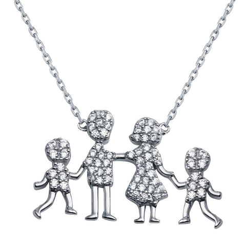 Open CZ Heart Mom, Dad, Baby Boys Family Necklace