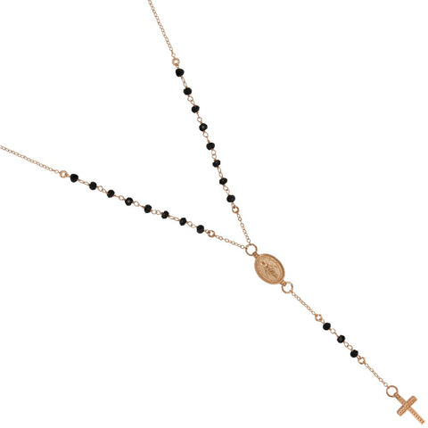 "ROSE GOLD PLATED BLACK SPINEL ROSARY NECKLACE 18"" + 2"""