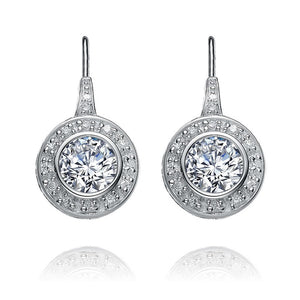 ROUND CENTER STONE PAVE CZ LEVERBACK 97MMx23MM EARRINGS