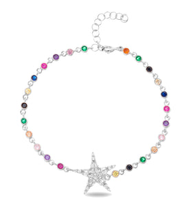 STERLING SILVER RHODIUM PLATED MULTI-COLOR TENNIS BRACELET WITH STAR 6+1""