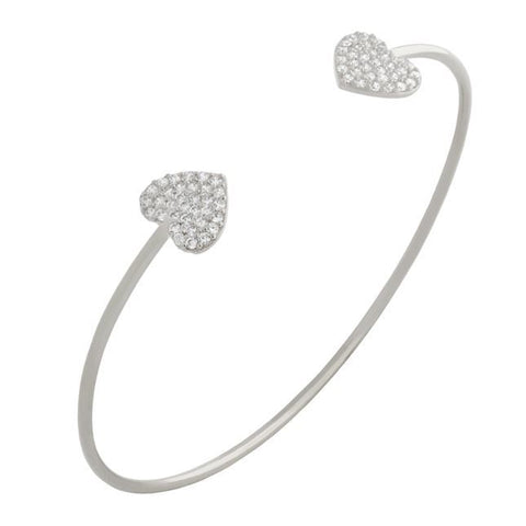 RHODIUM PLATED CZ DOUBLE HEART BANGLE