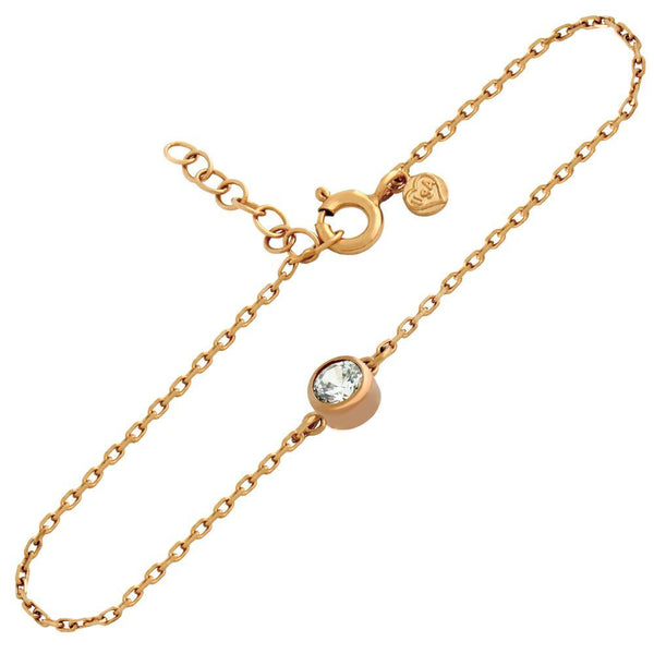 "ROSE GOLD PLATED 5MM CZ BRACELET 6.5"" + 1"""