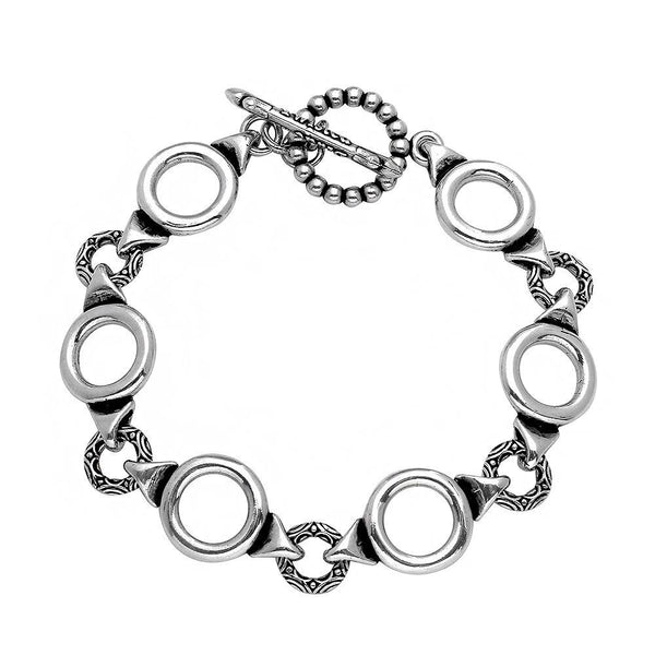 TWISTED BLADE SILVER CIRCLE-LINK BRACELET