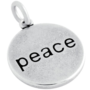 ROUND DISK WORD PEACE ENGRAVED CHARM