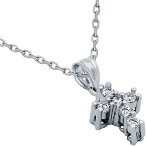 "SMALL CZ AND STERLING SILVER CROSS NECKLACE 16""+1"""