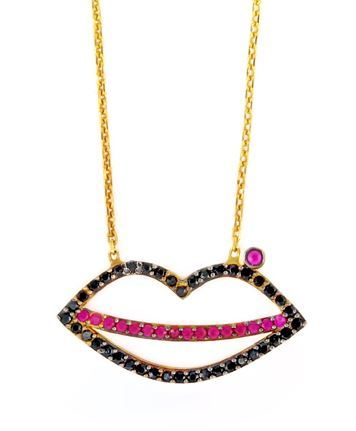 "GOLD PLATED LIP SHAPED BLACK AND RED CZ NECKLACE 16""+1"" ADJUSTABLE"