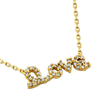 "GOLD PLATED CZ LOVE NECKLACE 16""+2"" ADJUSTABLE"