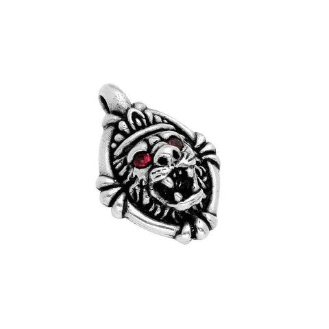 TWISTED BLADE SILVER LION'S HEAD PENDANT WITH RED CZ EYES