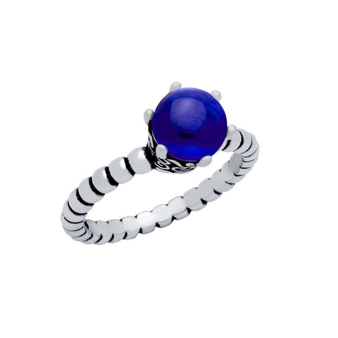 STERLING SILVER BEAD DESIGN RING WITH 5MM PRONG SET CABOCHON SAPPHIRE