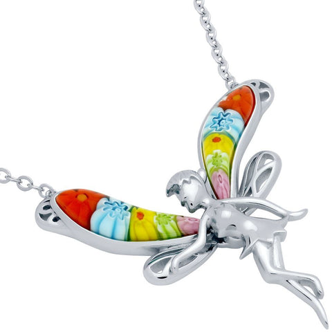"Murano WINGED FAIRY NECKLACE 16"" + 2"""
