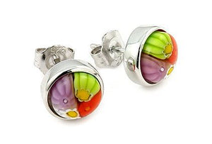 MULTICOLOR MURANO MILLEFIORI 8MM ROUND EARRINGS